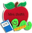 PERSONALIZED APPLE W/BOOKWORM TEACHER SCHOOL ORNAMENT Polymer Clay by Deb & Co.