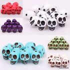 40pcs Acrylic Turquoise Carved Skull Spacer Loose Beads 10*13mm Fit For Bracelet