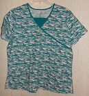 "NWOT WOMENS SCRUBS by NICK & SARAH ""Butterflies"" S/S SCRUBS TOP SIZE 1X"