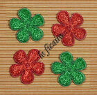 "U PICK~ 1"" Padded Glitter Flower Appliques X'mas Crafts Cards x 60 pcs #2362"