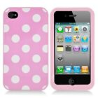APPLE iPHONE 4 4S GLOSSY RIGID PLASTIC ACRYLIC CASE POLKA DOTS PINK/WHITE