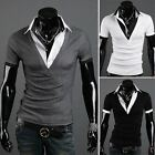 ZD28 New men slim fit Short Sleeves Shirts Men's V-neck T-shirt 3 Color 6 Size