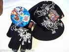 BAKUGAN HAT/CAP &GLOVES COLD WEATHER SET BLACK WITH WHITE DESIGN