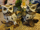 "PORCELAINE BISQUE FIGURINE OWLS ~ BRANDED ~ 5"" TALL"