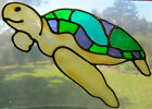 turtle stained glass type suncatcher window sticker headlight sunshiner