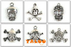 10pcs Mixed Tibetan Silver Skull Head Charms Pendants Handmade HOT