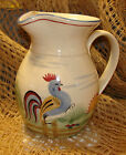 """Charming and colorful ROOSTER PITCHER from Patton Ceramics - 7.5"""" tall"""