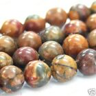 """4MM 6MM 8MM 10MM 12MM 14MM Natural Picasso Jasper Round Loose Beads Strand 15"""""""
