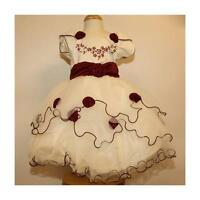New Burgundy Wine Ivory Flower Girl Bridesmaid Wedding Party Pageant Dress 2-12y