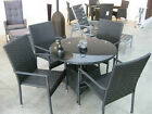 QUALITY 5 PIECE GARDEN DINING SET. 4 WICKER CHAIRS & ROUND,GLASS TOPPED TABLE
