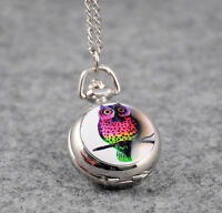 Cute Colourful Night OWL Stainless Steel Quartz Pocket Watch Gift Necklace Chain