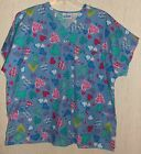 EXCELLENT WOMENS J.I.J. SCRUBS BLUE W/ HEARTS PRINT SCRUBS TOP SIZE 3X