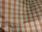 BROWN GOLD PLAID 100% PURE SILK FABRIC Hi-End DRESS SKIRT SCARF DECOR