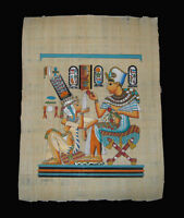 Egyptian Papyrus genuine hand painted King Tut offering drink for wife 43x33cm