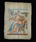Egyptian Papyrus genuine hand painted Nefertiti offering to King Tut 43x33cm