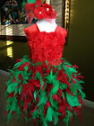 Christmas Couture red green Feather skirt flower crochet top infant toddler girl
