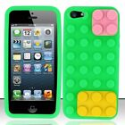 iPhone 5 Rubber SILICONE Soft Gel Skin Case Phone Cover Green Building Blocks