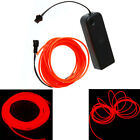 3M Flexible Neon Light Glow EL Wire Rope Tube Car Dance Party + Controller Red