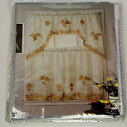 Kitchen Curtain Embroidered Leaf Romano 60 x 36 with Valance
