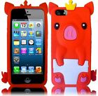 iPhone 5 5S Rubber SILICONE Soft Gel Skin Case Phone Cover Cute Crown Pig Red