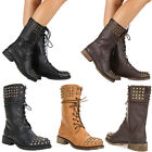 New Womens Military Combat Studded Boot Lace Up Women Fashion Boots Shoes Size