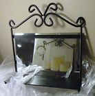 RILEY CANDLE SHELF WALL HANGING CANDELARIA BLACK METAL SHELF W MIRROR BACK NEW