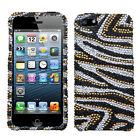 For iPhone 5 5S Crystal Diamond BLING Hard Case Phone Cover Silver Gold  Zebra