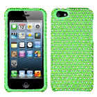 For iPhone 5 5S Crystal Diamond BLING Hard Case Phone Cover Green Dots accessory