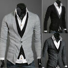 6073 Mens Casual Slim Fit Long Sleeve Sweaters Shirts pocket-line cardigan