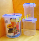 3 Pcs Airtight Plastic Lock Biscuit Cookie Storage Container Microwave Box W/Lid
