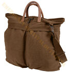 Vintage Brown Canvas Helmet Bag Boot Bag or Skates Bag w/ Leather Handles
