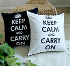 "KEEP CALM CARRY ON / Relax Black & White Cotton Canvas Cushion Covers- 18"" /45cm"