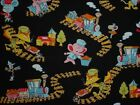 Animals playing with toy trains Japanese Fabric kawaii