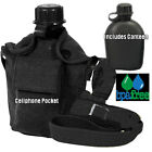 Carry All 1 Quart Canteen w/ Cover Cell Phone Pocket Shoulder Strap BLACK
