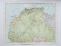 1920 Map North West Africa Large Colour Map Gross
