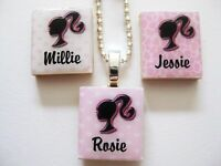 Barbie Girl Pendant  Necklace personalised (any name)  pink & black handmade