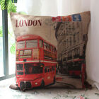 45cm Red London Bus and Phone Boxes cushion cover Linen Cotton Throw Pillow case