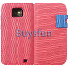 Pink Anti-slip Card Slot Wallet Leather Case Cover For Samsung Galaxy S2 i9100