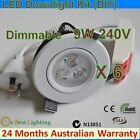 6 x 9W 240V Dimmable Cool White LED Down light Kits-Spot Ceiling Fixture Fitting