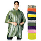 10 mil Vinyl Thick Emergency Rain Poncho Survival Reusable Boy Scout ALL COLORS