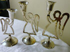 INTERNATIONAL SILVER SET OF 3 CANDLE HOLDER PRAYING ANGELS HAND MADE IN INDIA