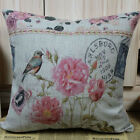 "18"" Vintage Shabby Chic Flower & Love Bird King Queen Stamp Linen Cushion Cover"