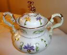 LISSI KAPLAN GIFTCRAFT CHINA CROCUS SUGAR POT WITH GOLD TOP AND RIM