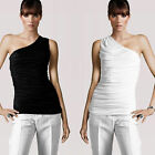 New black white one shoulder ruched jersey top Au 6-16