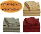 3 SETS OF 1500 COUNT 4 PIECE BED SHEET SETS. BURGUNDY RED,OLIVE GREEN,CAMEL GOLD