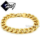 "8.5""MEN's Stainless Steel HEAVY WIDE 11x5mm Gold Cuban Curb Chain Bracelet*49g"