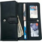 Womens Black Solid Genuine Leather Wallet w/ Snap Closure, Pocket ID Card Holder