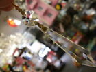1x ICICLE COMPLETE GOLDEN LONG SPEAR DROP PART CHANDELIER LEAD CRYSTAL DROPS