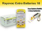 60 Rayovac Hearing Aid Batteries Size 10 + Free Keychain/2 Extra Batteries