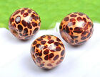 100Pcs 10MM Leopard design wood round loose beads DIY FINDINGS